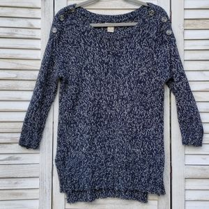 Lucky Brand Marble Navy Blue White Knit Sweater